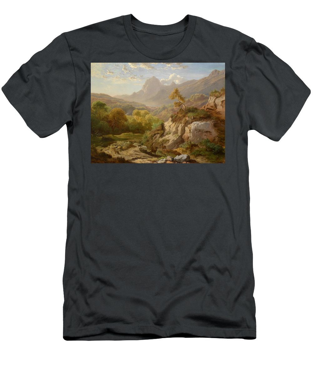 Landscape Men's T-Shirt (Athletic Fit) featuring the painting Deer In A Wide Mountain by Celestial Images