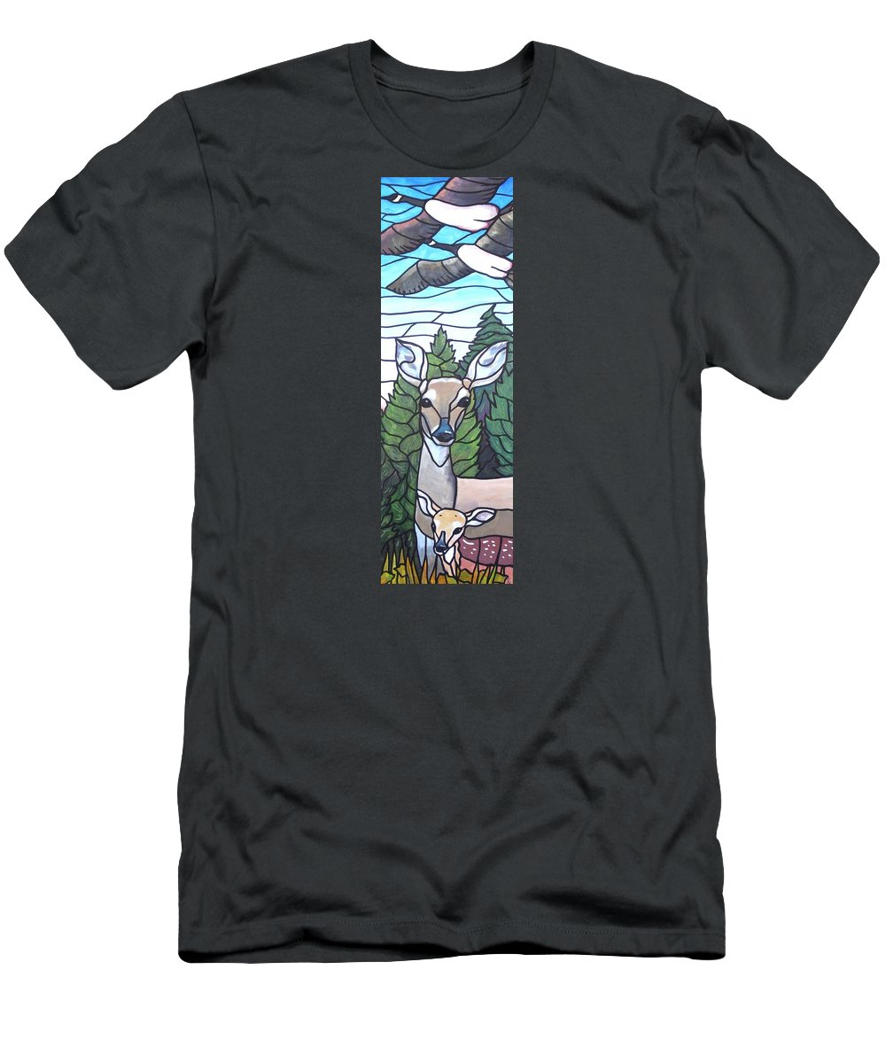 Deer Men's T-Shirt (Athletic Fit) featuring the painting Deer Scene by Jim Harris