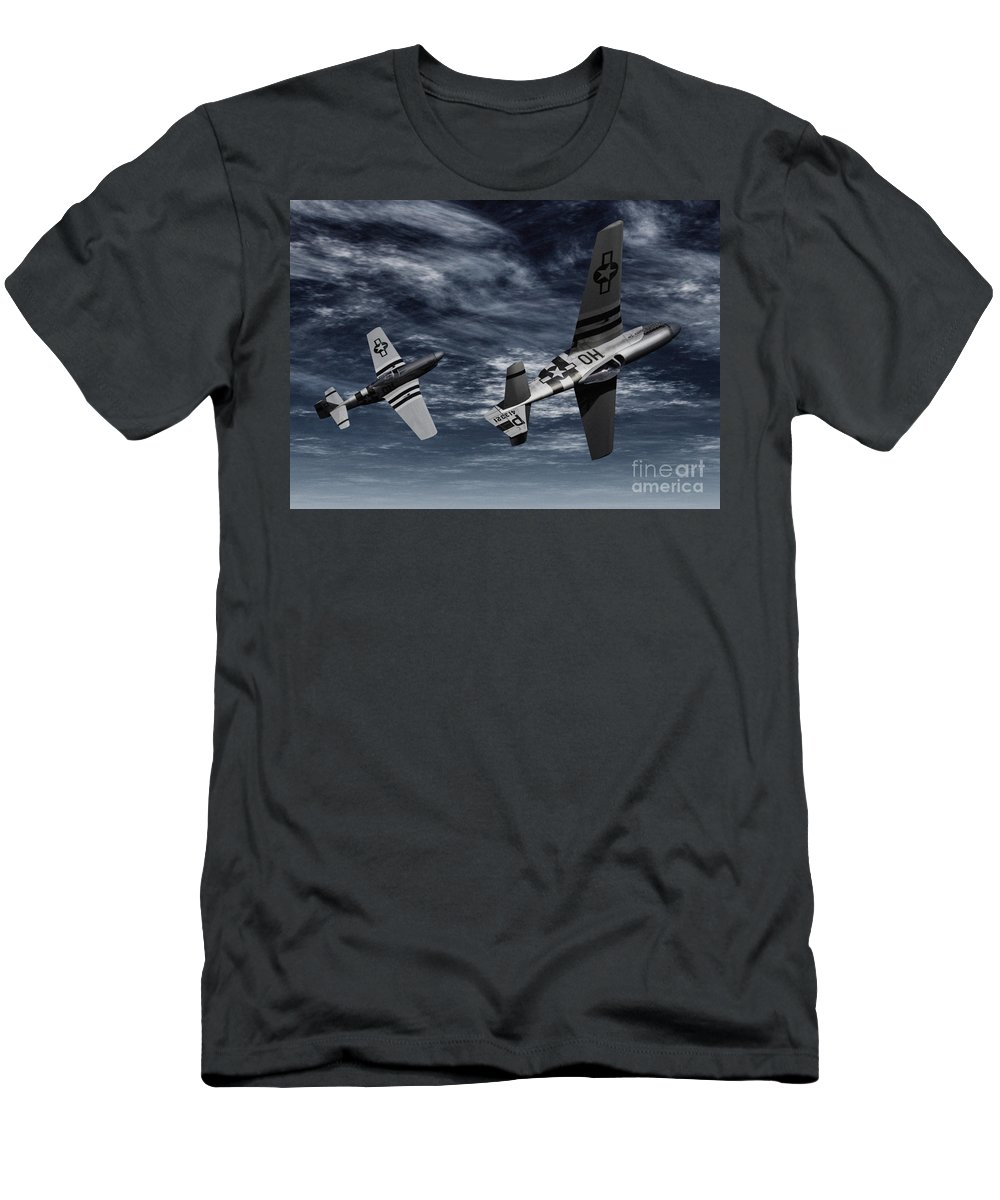 Aircombat Men's T-Shirt (Athletic Fit) featuring the digital art Defensive Split by Richard Rizzo
