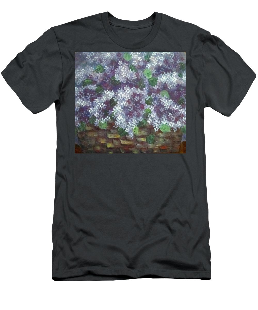 Perfumed Lilacs Greeting Cards Men's T-Shirt (Athletic Fit) featuring the painting Delicate Perfumed Lilacs by Natalie Holland