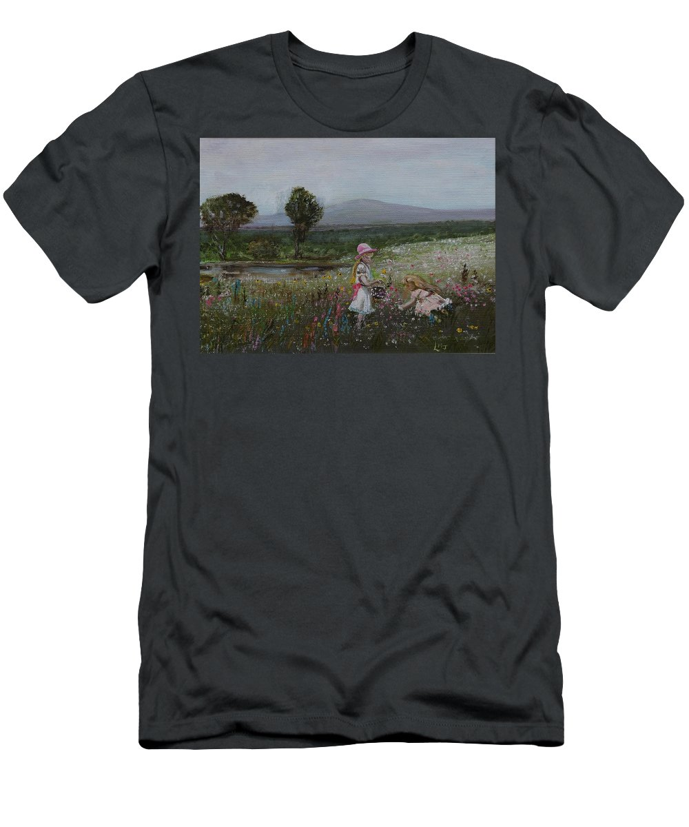 Impressionist Men's T-Shirt (Athletic Fit) featuring the painting Delights Of Spring - Lmj by Ruth Kamenev
