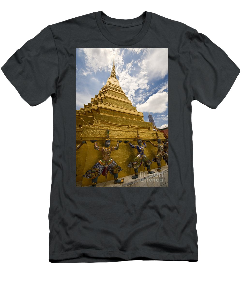 Demon Guards Men's T-Shirt (Athletic Fit) featuring the photograph Demon Guards Grand Palace Bangkok by Charuhas Images