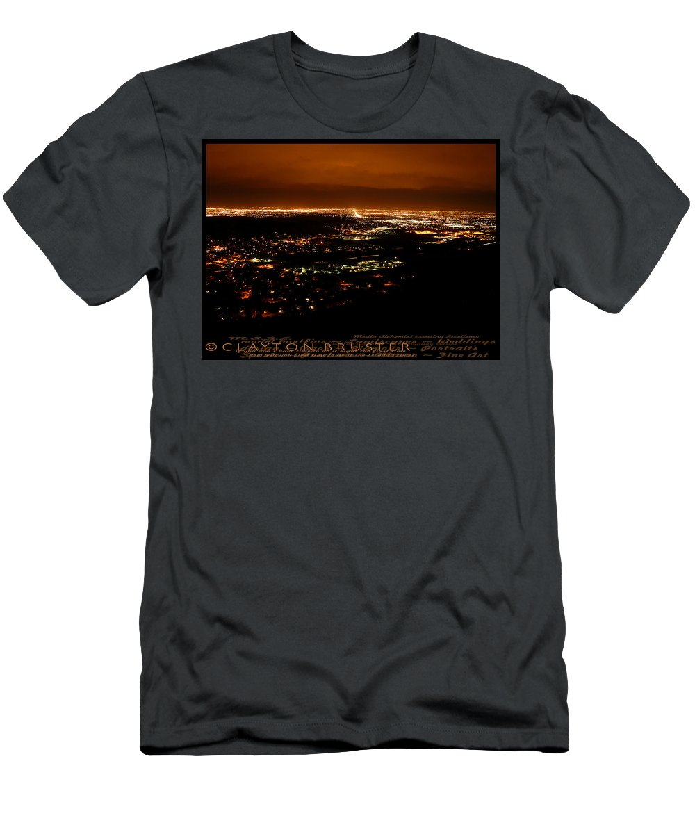 Clay Men's T-Shirt (Athletic Fit) featuring the photograph Denver Area At Night From Lookout Mountain by Clayton Bruster