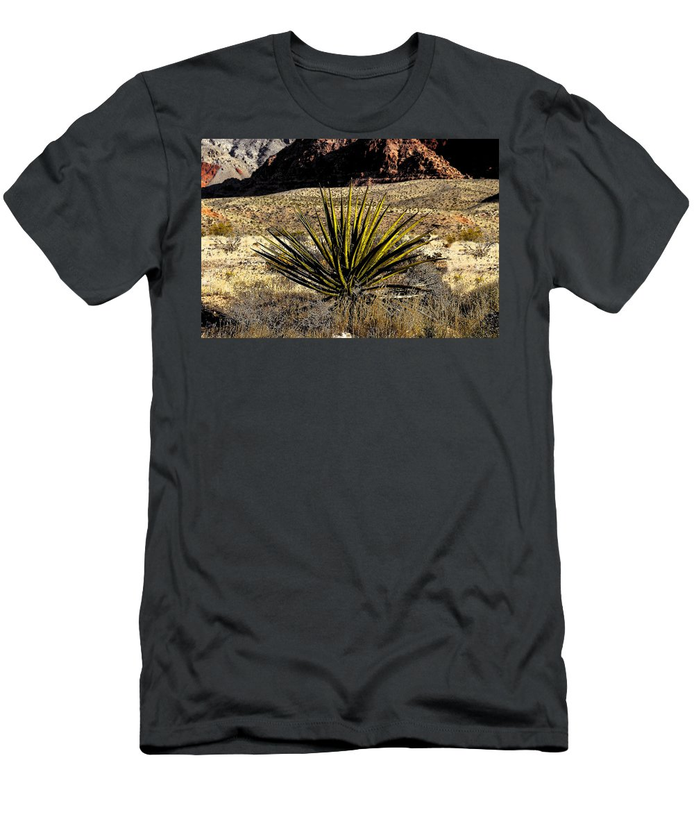Desert Men's T-Shirt (Athletic Fit) featuring the painting Desert Cactus by David Lee Thompson