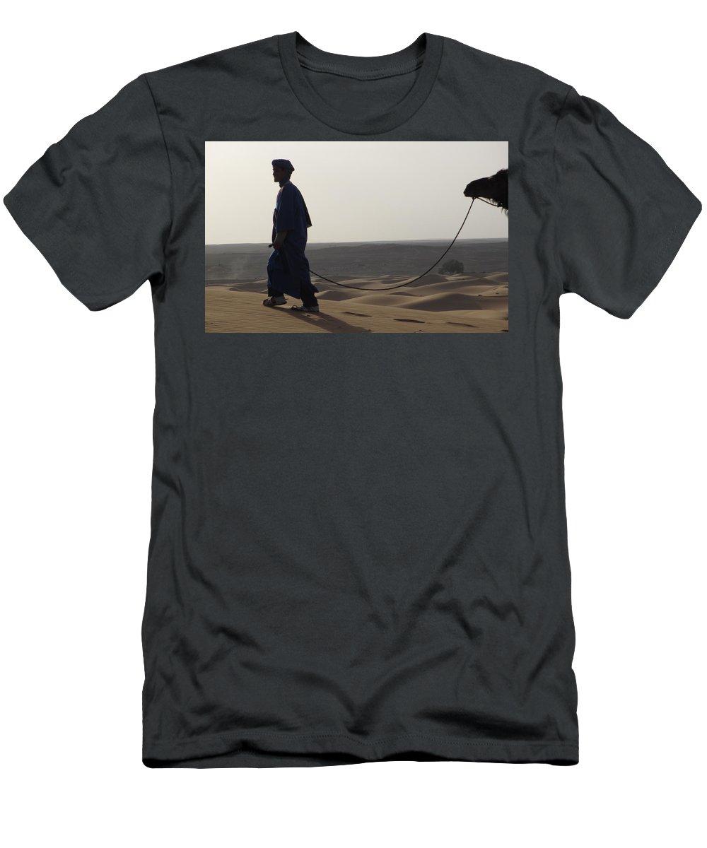 Camel Men's T-Shirt (Athletic Fit) featuring the photograph Desert Trek, Sahara Desert by Diane Berard