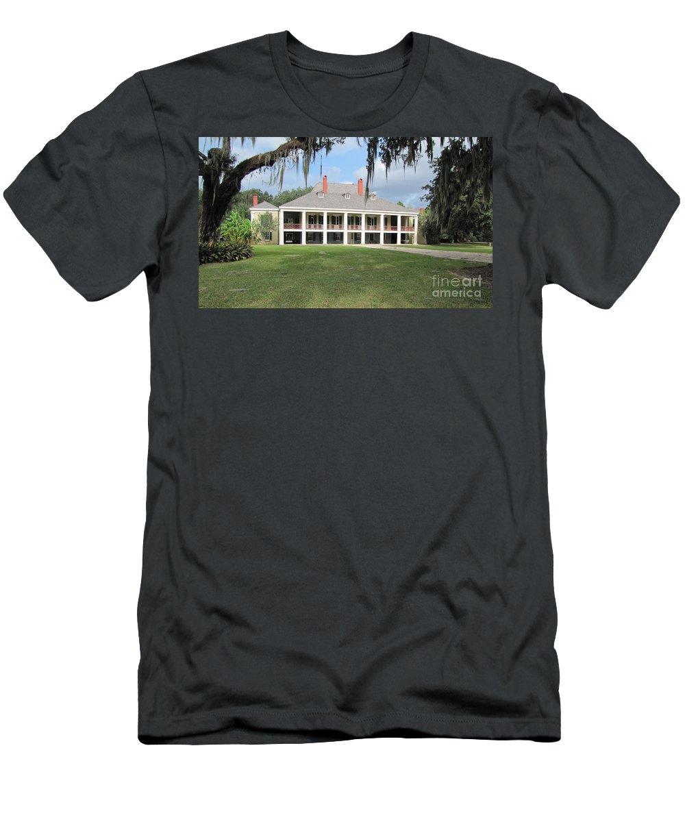 Plantation Home Men's T-Shirt (Athletic Fit) featuring the photograph Destrehan Plantation by Michelle Powell