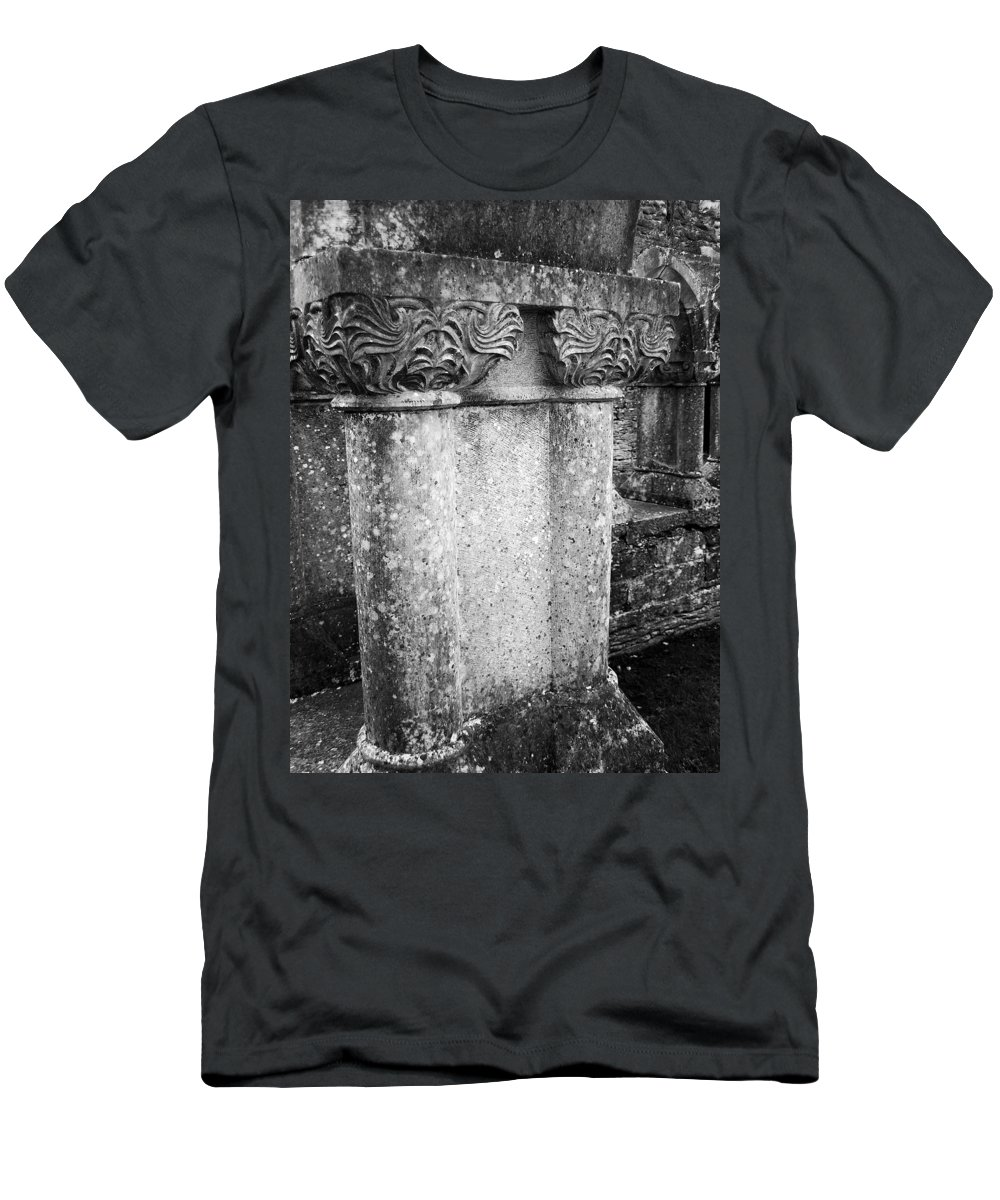 Irish Men's T-Shirt (Athletic Fit) featuring the photograph Detail Of Capital Of Cloister At Cong Abbey Cong Ireland by Teresa Mucha