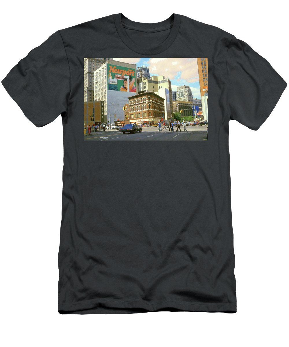 Detroit Men's T-Shirt (Athletic Fit) featuring the painting Detroit Michigan 84 - Watercolor by Peter Potter