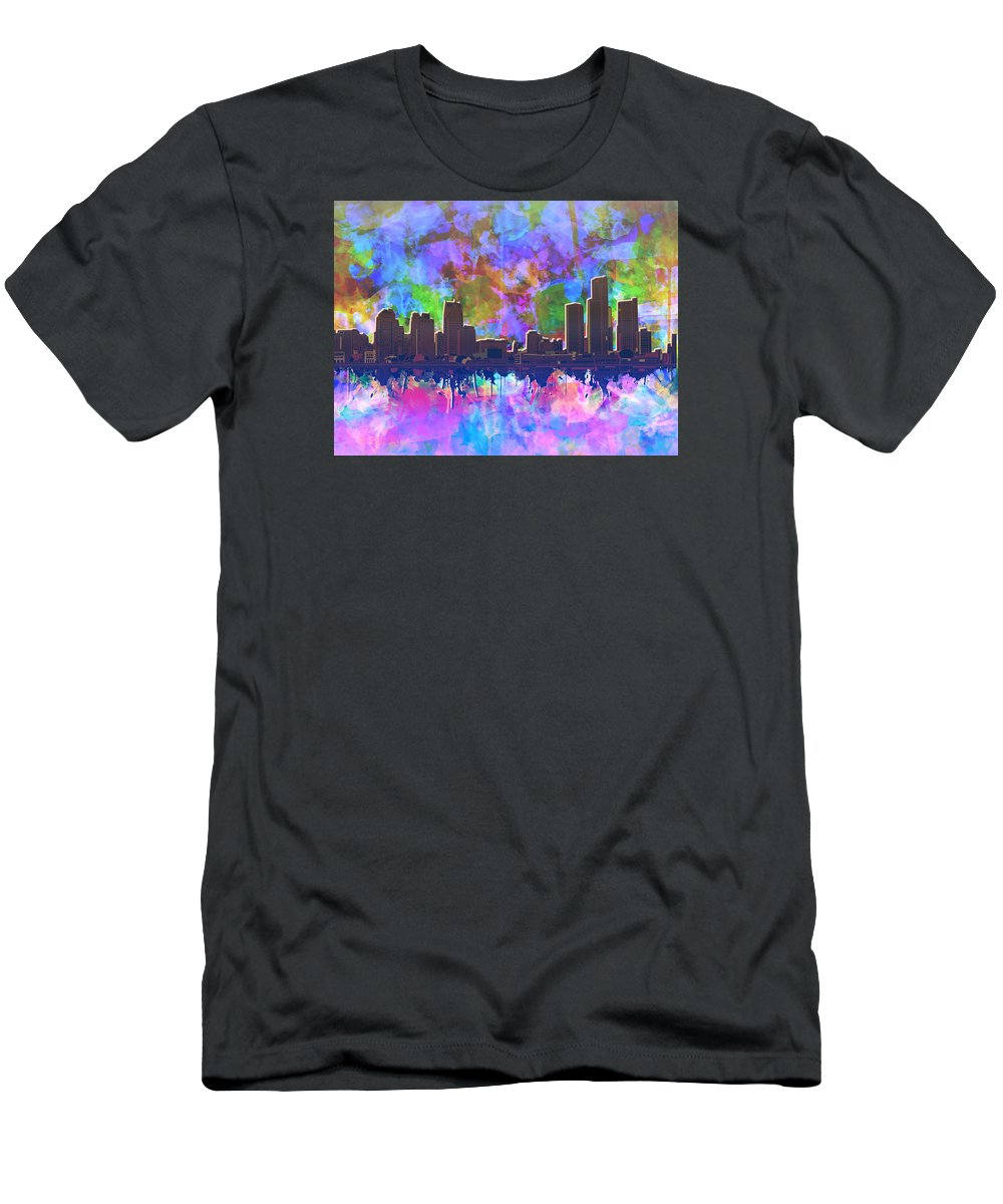 Detroit Men's T-Shirt (Athletic Fit) featuring the painting Detroit Skyline Watercolor 1 by Bekim Art