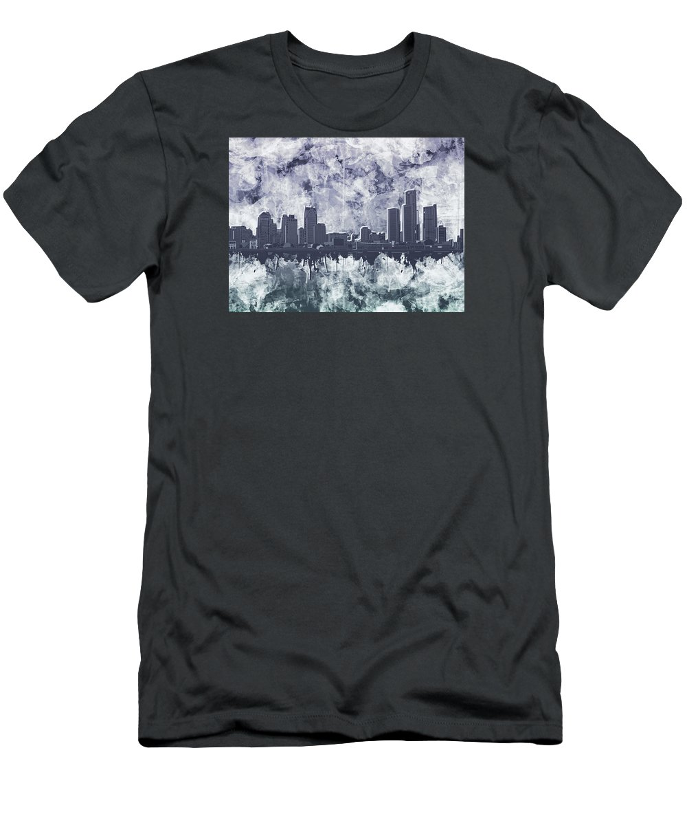 Detroit Men's T-Shirt (Athletic Fit) featuring the painting Detroit Skyline Watercolor Grunge by Bekim Art