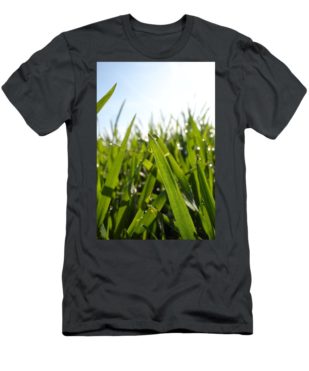 Flora Men's T-Shirt (Athletic Fit) featuring the photograph Dewdrops On New Wheat by Susan Baker