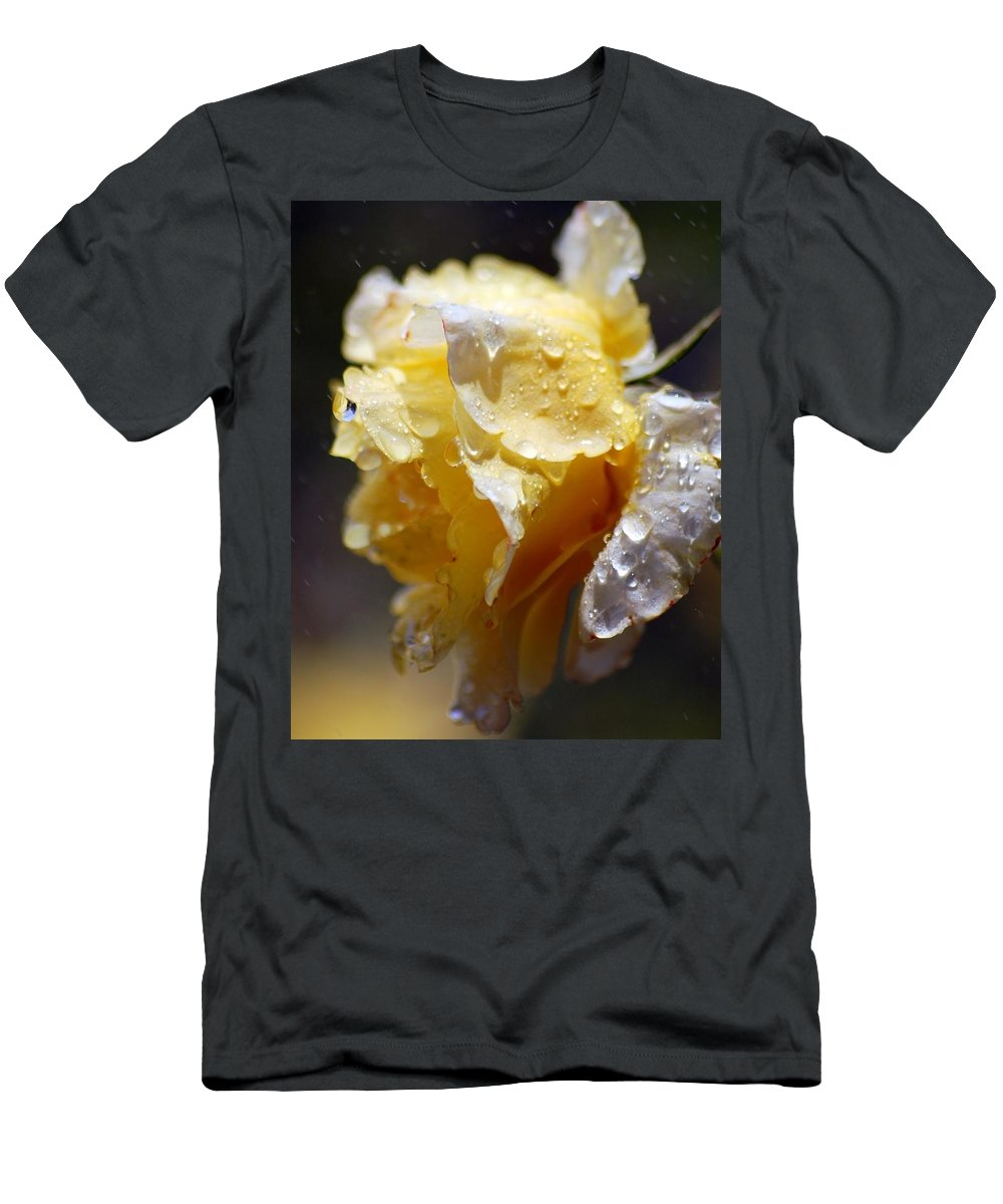 Rose Men's T-Shirt (Athletic Fit) featuring the photograph Dewy Yellow Rose 2 by Amy Fose