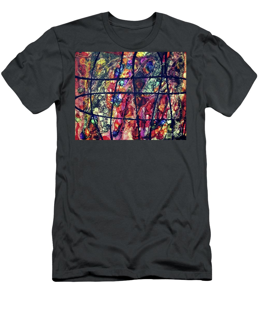 Keith Elliott Men's T-Shirt (Athletic Fit) featuring the painting Diabolical Madness - V1cri78 by Keith Elliott