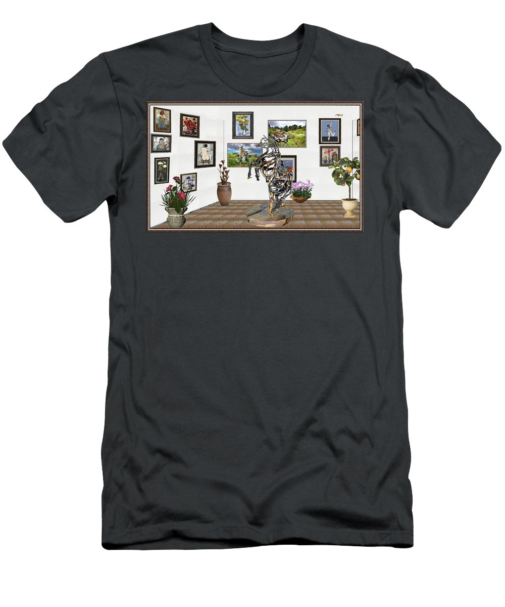 Modern Painting Men's T-Shirt (Athletic Fit) featuring the mixed media Digital Exhibition _ Statue Of Branches by Pemaro