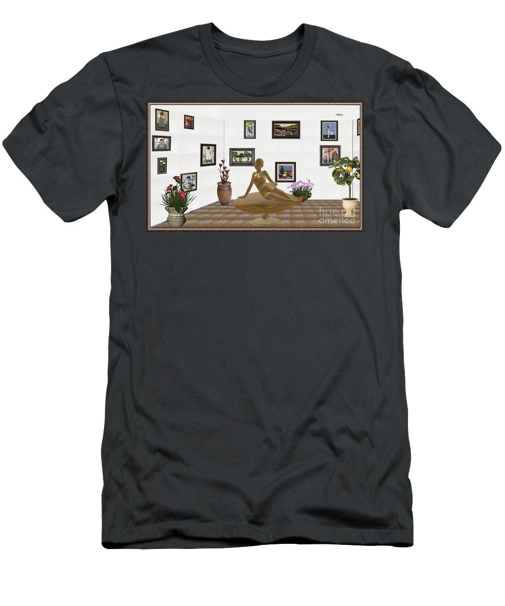 People Men's T-Shirt (Athletic Fit) featuring the mixed media digital exhibition _ Statue of girl 49 by Pemaro