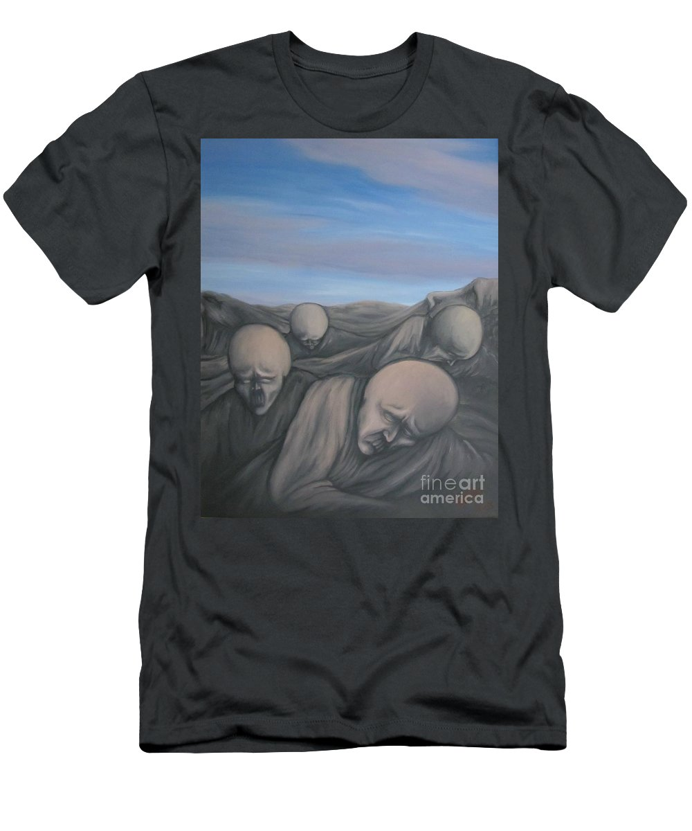 Tmad Men's T-Shirt (Athletic Fit) featuring the painting Dismay by Michael TMAD Finney