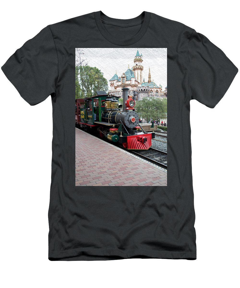 Disney Men's T-Shirt (Athletic Fit) featuring the photograph Disneyland Railroad Engine 3 With Castle by Thomas Woolworth