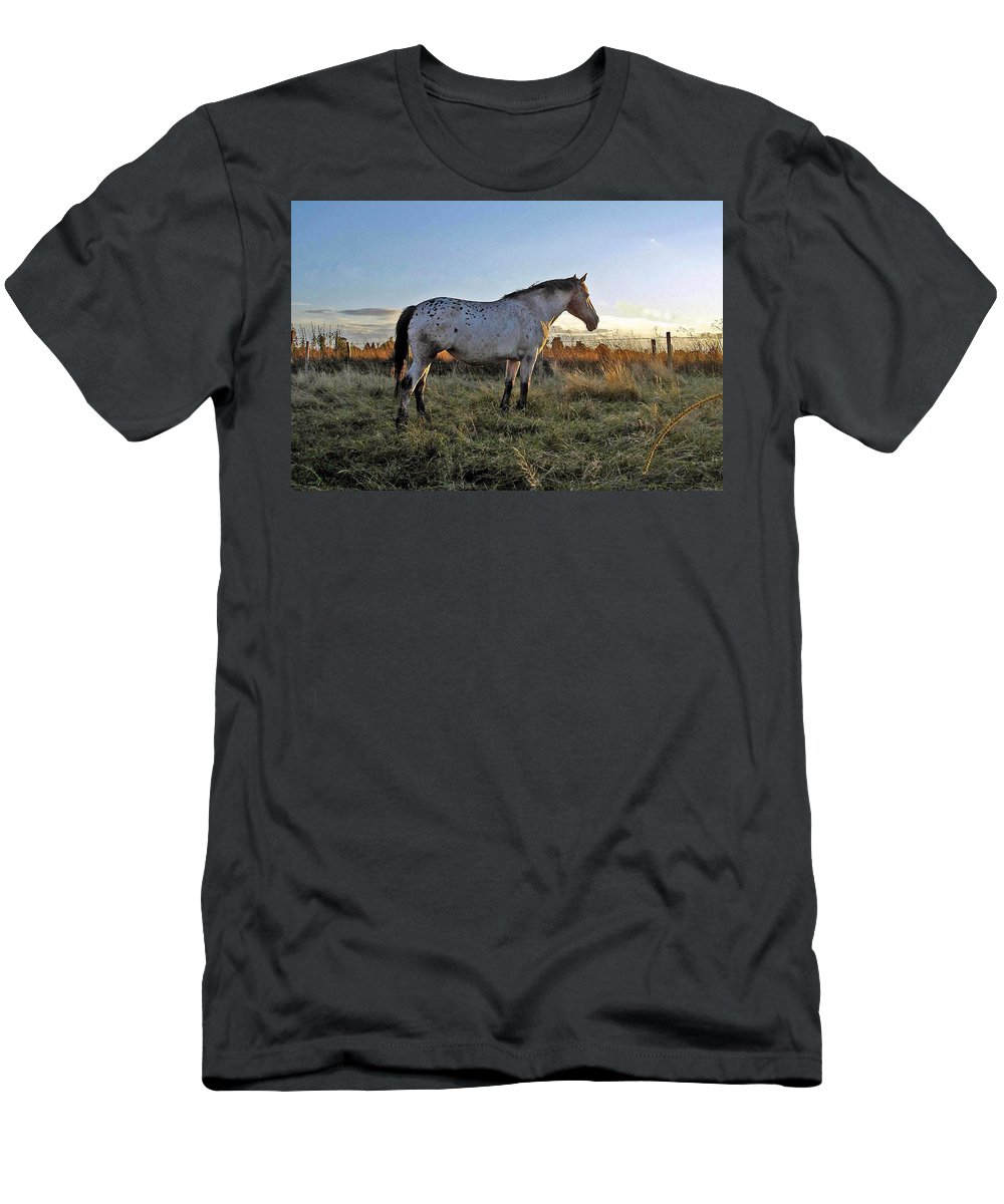 Appaloosa Men's T-Shirt (Athletic Fit) featuring the photograph Distant Thoughts by Susan Baker