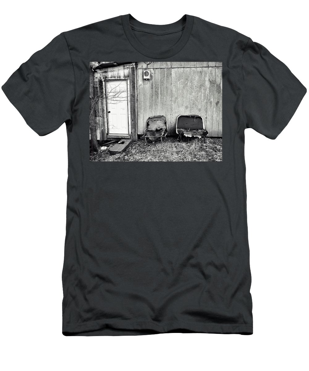 Walk By Without Seeing Men's T-Shirt (Athletic Fit) featuring the photograph  Distressed Building B by John Myers