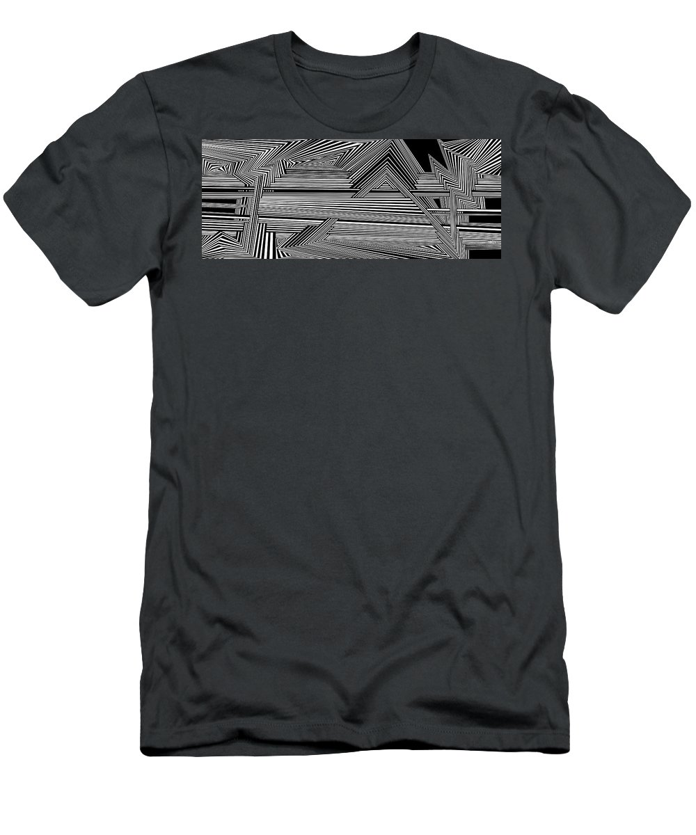 Dynamic Black And White Men's T-Shirt (Athletic Fit) featuring the digital art Dneyreveht by Douglas Christian Larsen