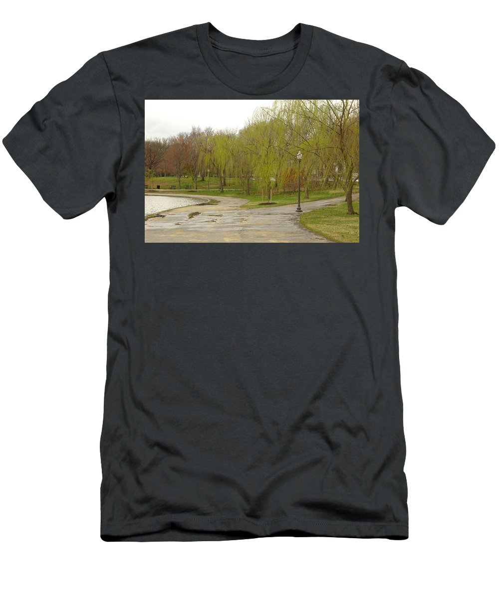 Landscape Park Washington Willow Tree Lake Men's T-Shirt (Athletic Fit) featuring the photograph Dnrf0401 by Henry Butz