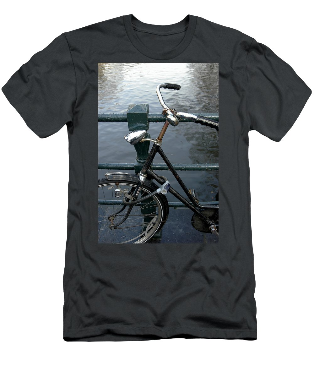 Landscape Amsterdam Red Light District Bicycle Men's T-Shirt (Athletic Fit) featuring the photograph Dnrh1104 by Henry Butz