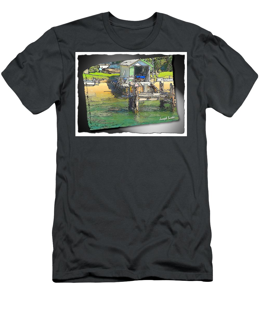 Boatshed Men's T-Shirt (Athletic Fit) featuring the photograph Do-00128 Boatshed At Brisbane Water by Digital Oil