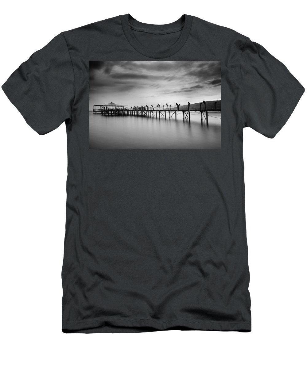 Dock Men's T-Shirt (Athletic Fit) featuring the photograph Dock At Autumn by Dogukan Benli