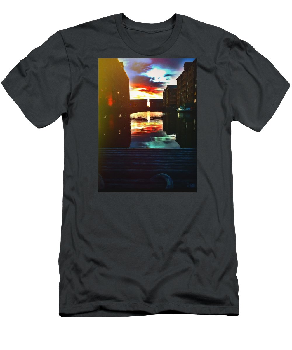 Sunset T-Shirt featuring the photograph Dockland sun down by Trystan Oldfield