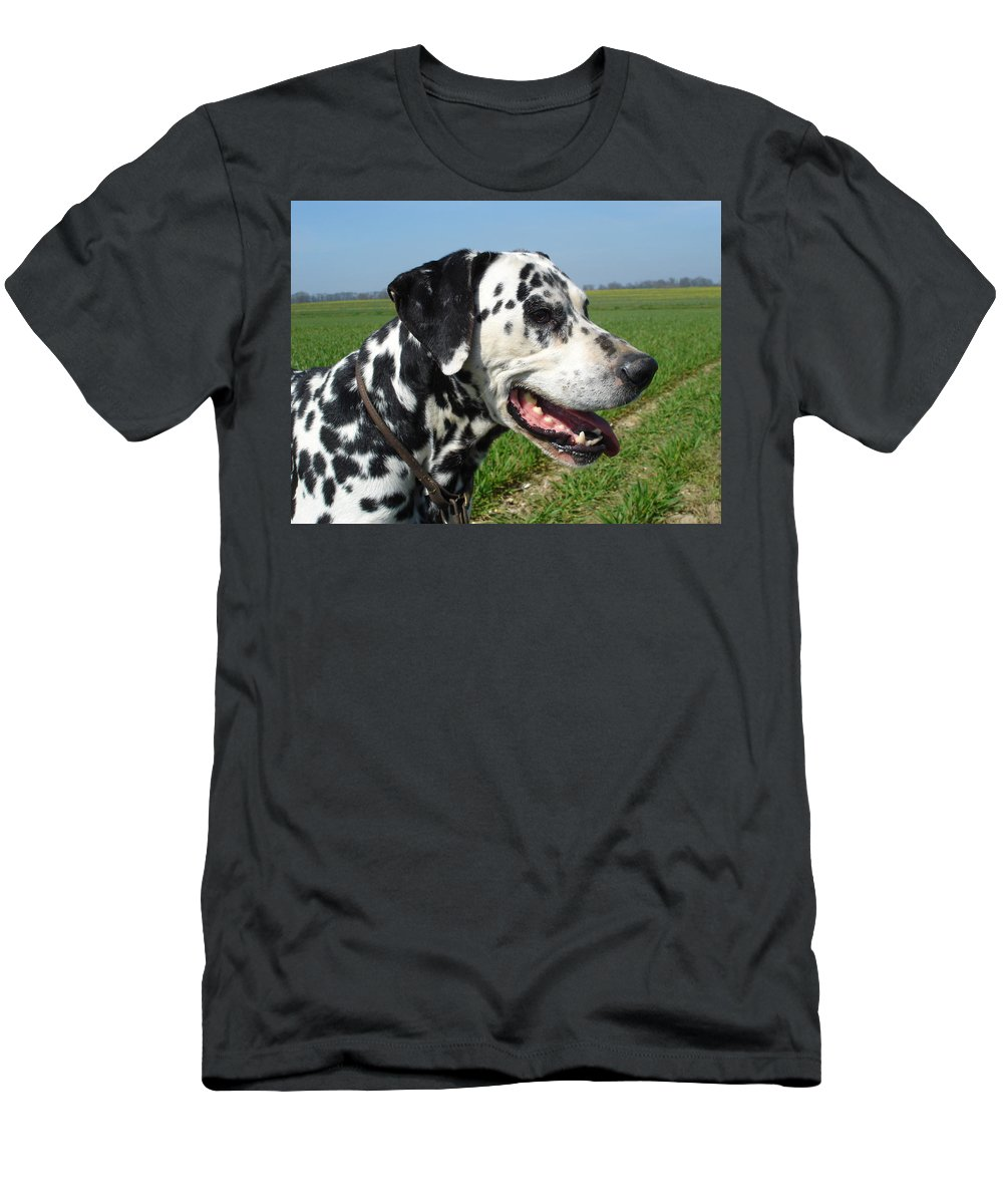 Dog Men's T-Shirt (Athletic Fit) featuring the photograph Dodgy The Dalmation by Susan Baker