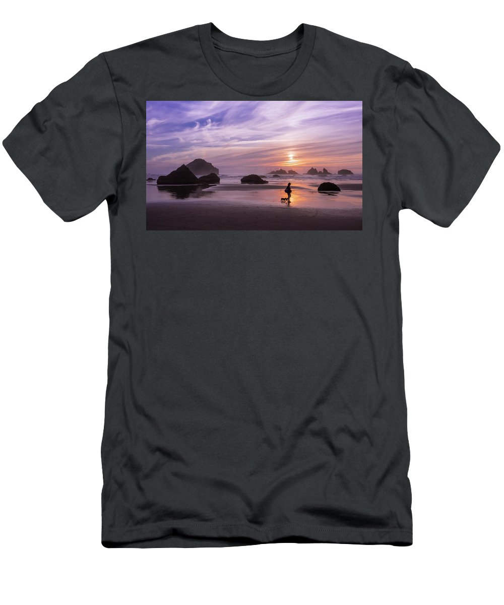 Beach Men's T-Shirt (Athletic Fit) featuring the photograph Dog Walker by Steven Clark