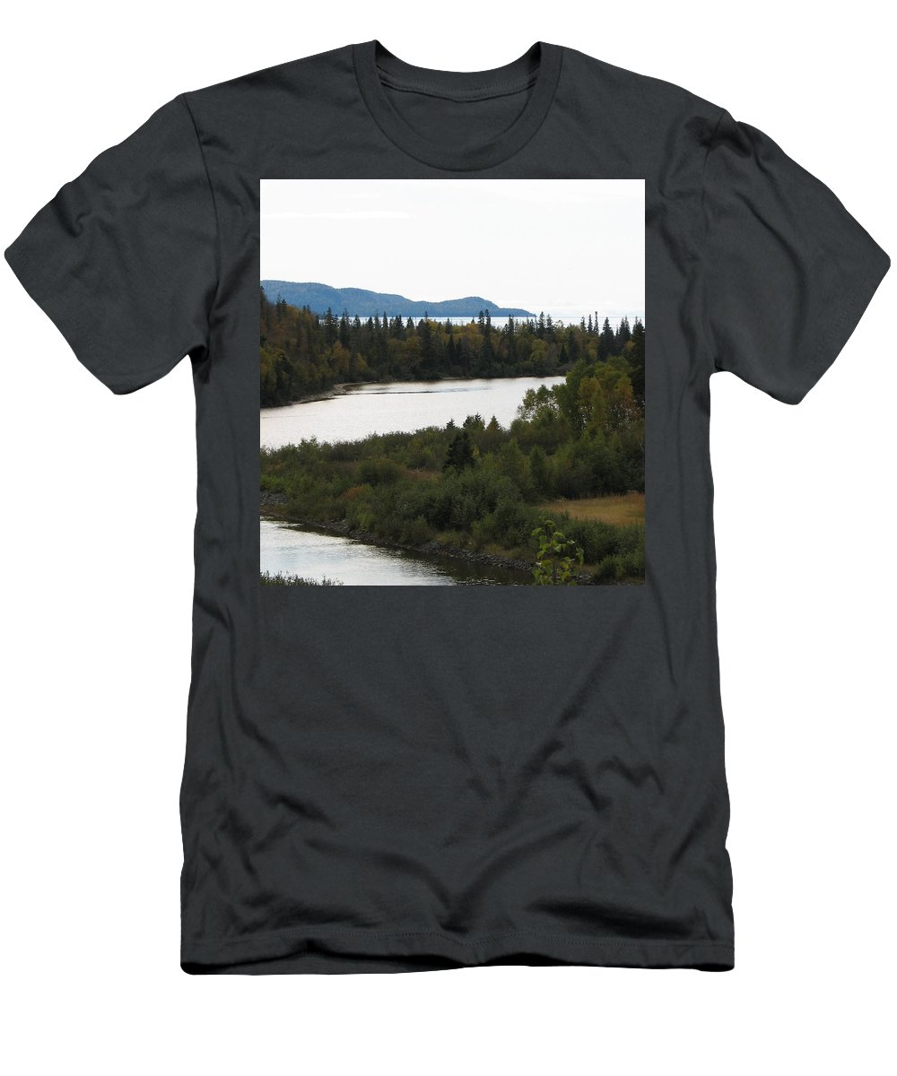 River Men's T-Shirt (Athletic Fit) featuring the photograph Dogleg by Kelly Mezzapelle