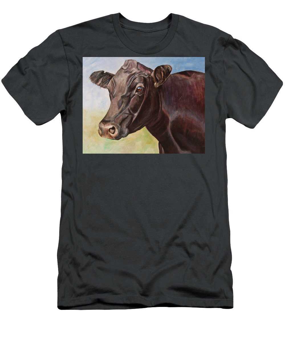 Cow Men's T-Shirt (Athletic Fit) featuring the painting Dolly The Angus Cow by Toni Grote
