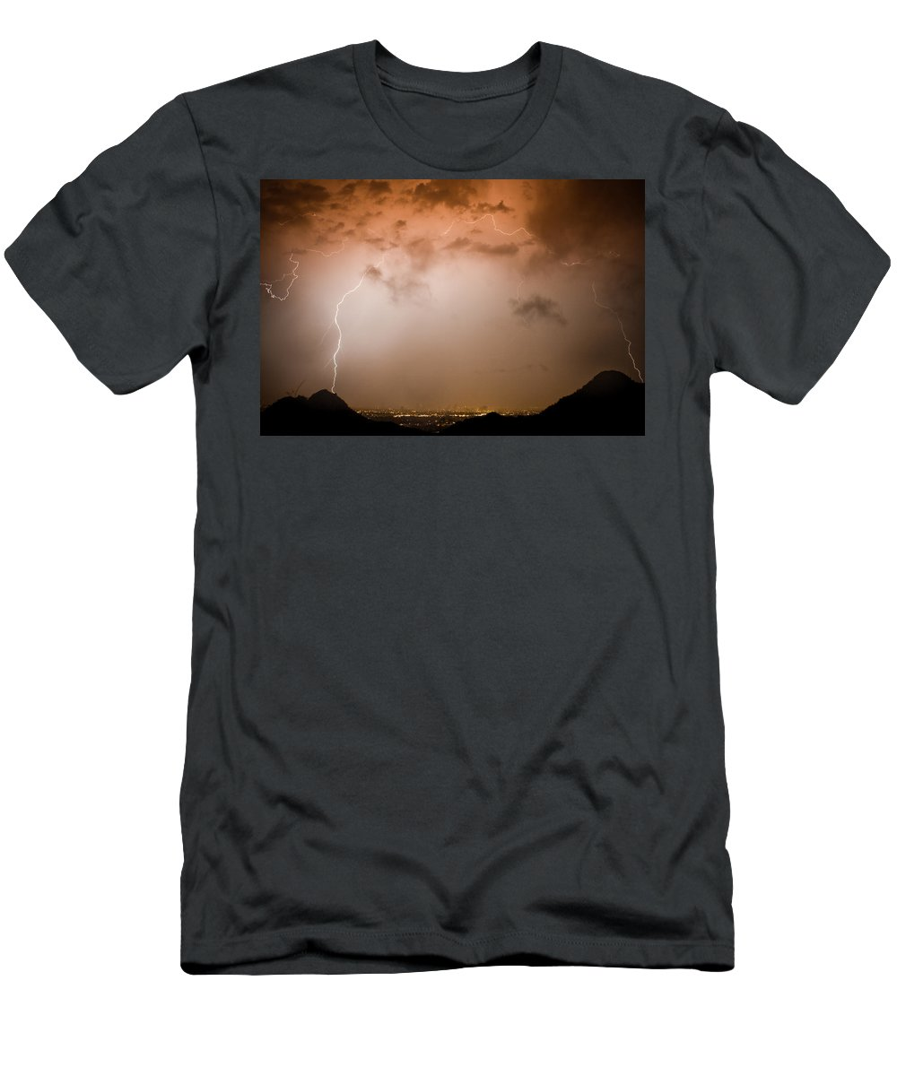 Lightning Men's T-Shirt (Athletic Fit) featuring the photograph Dome Of Lightning by James BO Insogna