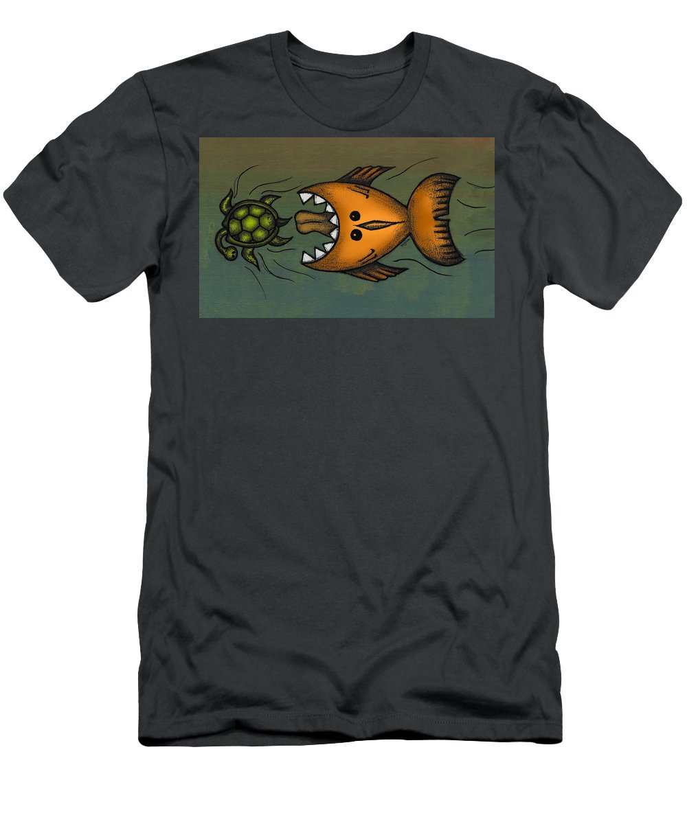 Fish Men's T-Shirt (Athletic Fit) featuring the digital art Don't Look Back by Kelly Jade King