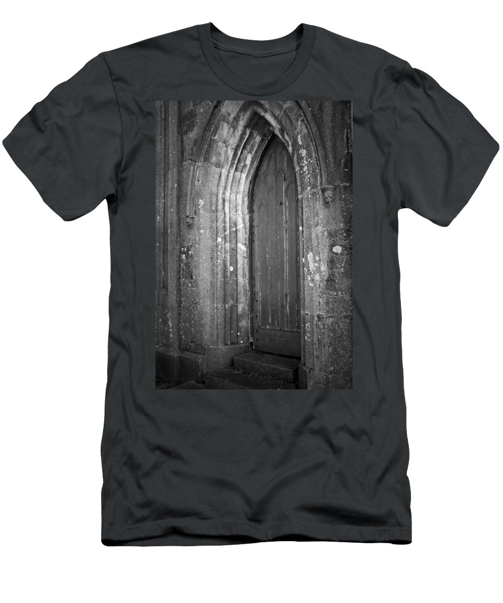 Irish Men's T-Shirt (Athletic Fit) featuring the photograph Door At Protestant Church Macroom Ireland by Teresa Mucha