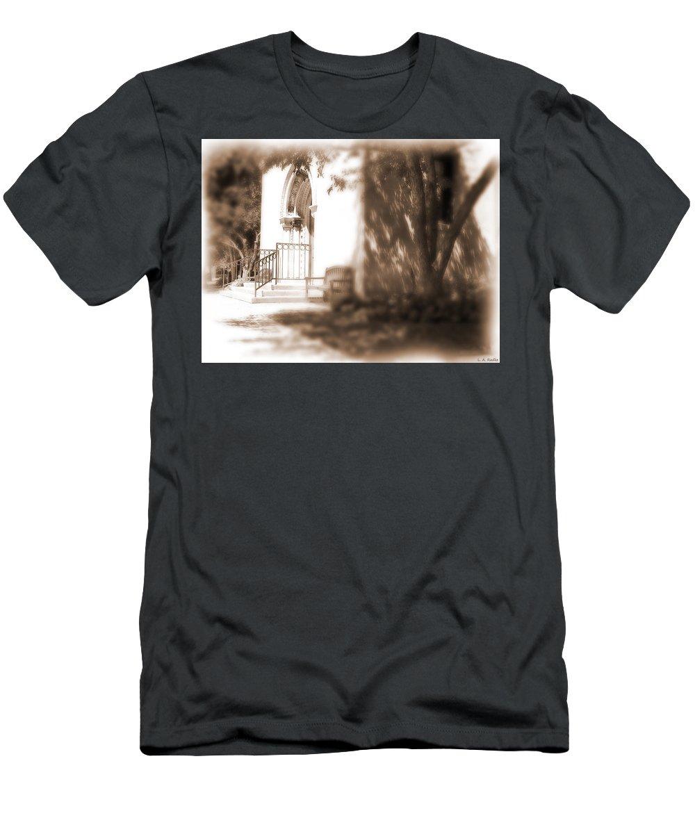 Lauren Radke Men's T-Shirt (Athletic Fit) featuring the photograph Door To Yesterday by Lauren Radke