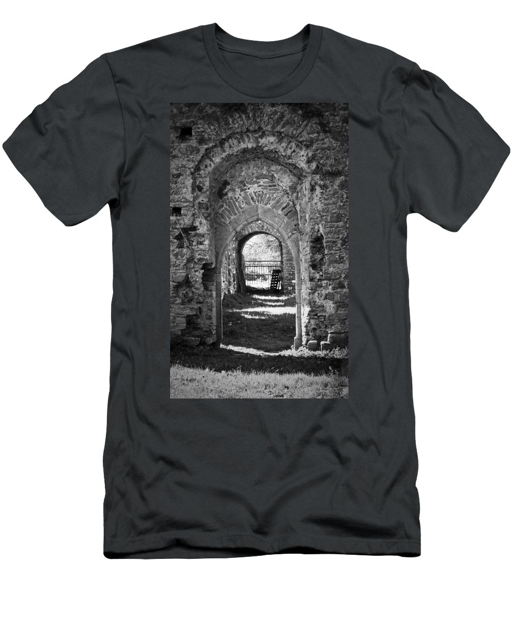 Irish Men's T-Shirt (Athletic Fit) featuring the photograph Doors At Ballybeg Priory In Buttevant Ireland by Teresa Mucha
