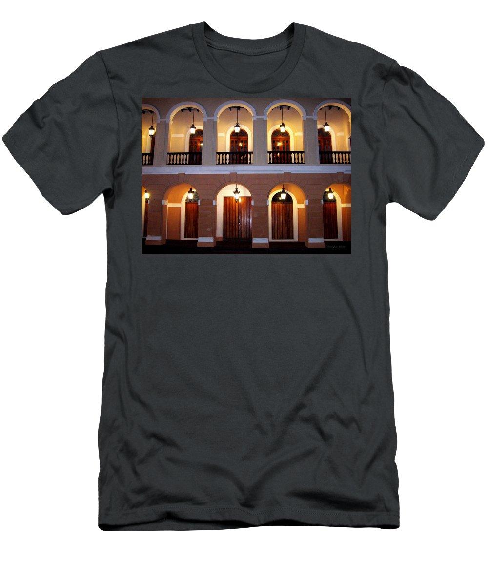 Doors Men's T-Shirt (Athletic Fit) featuring the photograph Doors Of San Juan Square by Deborah Crew-Johnson