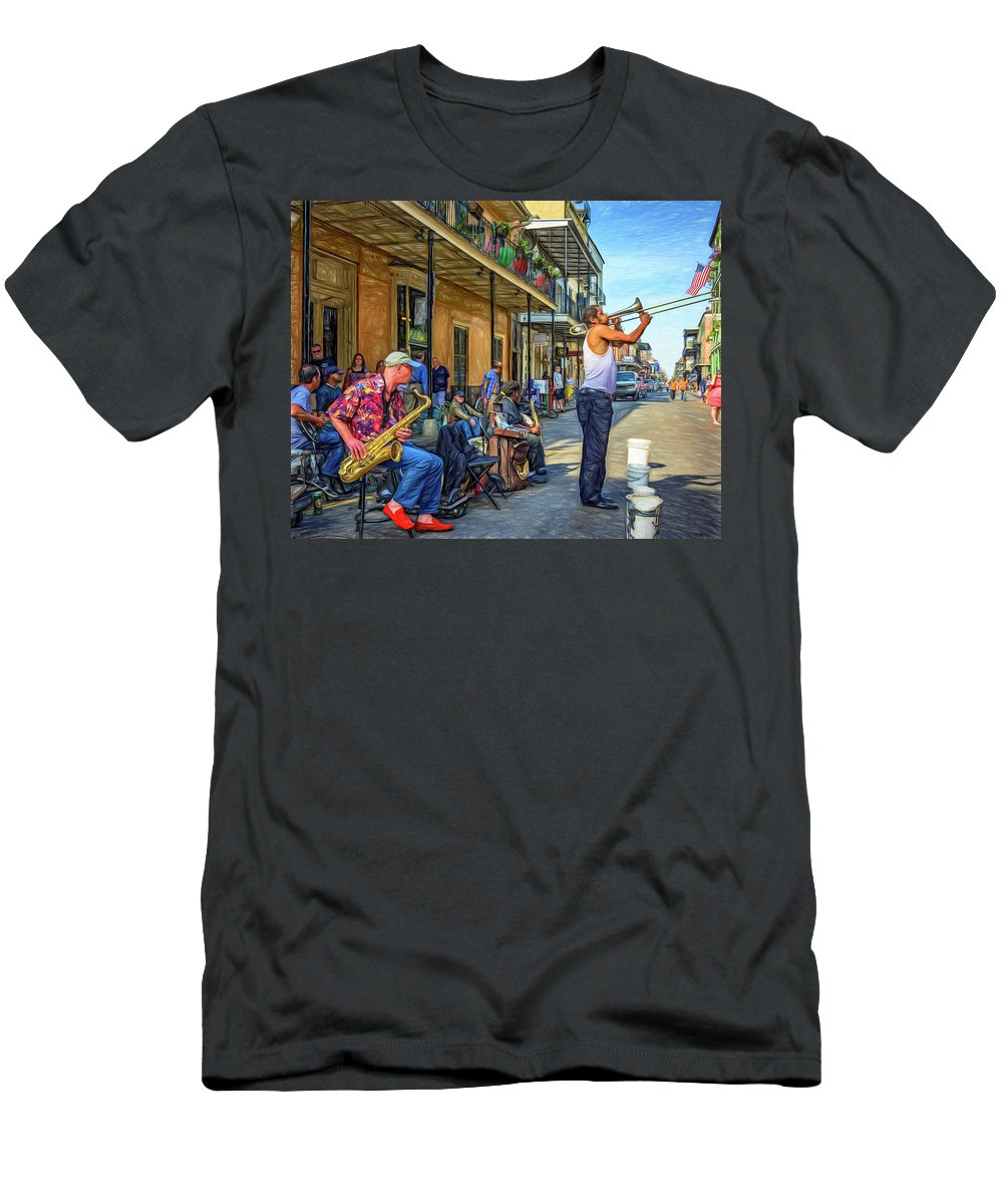 French Quarter Men's T-Shirt (Athletic Fit) featuring the photograph Doreen's Jazz New Orleans - Paint by Steve Harrington