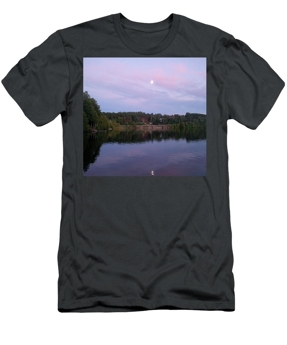 Lake Men's T-Shirt (Athletic Fit) featuring the photograph Double Moon At Dusk by Juli Kreutner