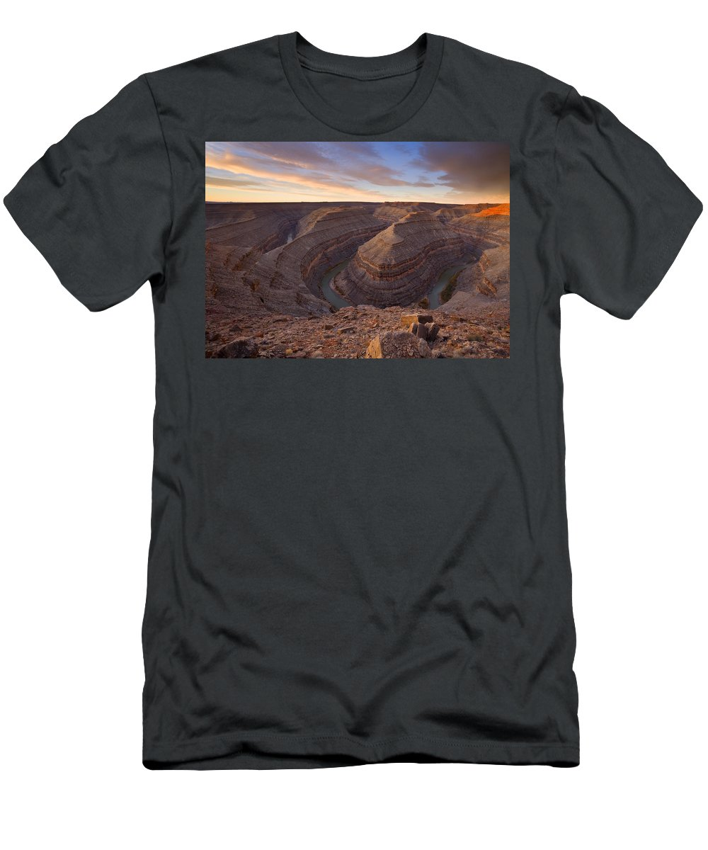Goosenecks State Park Men's T-Shirt (Athletic Fit) featuring the photograph Doubleback by Mike Dawson