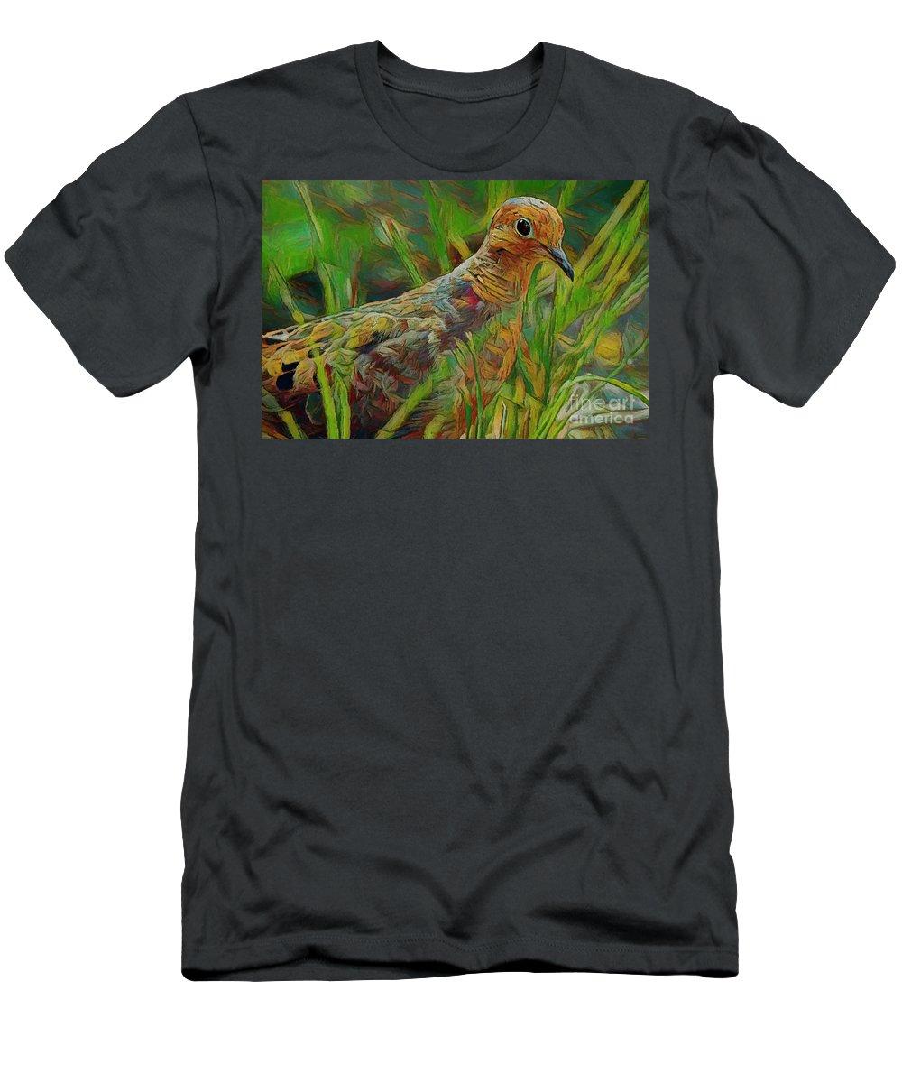 Dove Men's T-Shirt (Athletic Fit) featuring the photograph Dove Painterly by Deborah Benoit