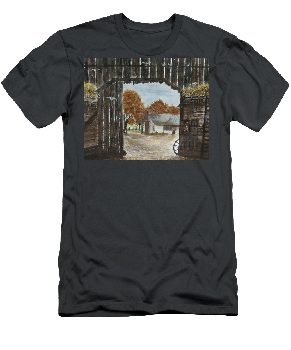 Grandpa And Grandma's Homeplace Men's T-Shirt (Athletic Fit) featuring the painting Down Home by Ben Kiger