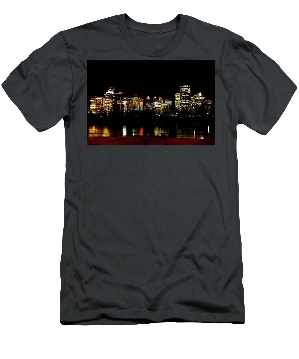 Downtown Calgary Night Lights Reflection Off Bow River Rural Alb Men's T-Shirt (Athletic Fit) featuring the digital art Downtown Calgary At Night by Mark Duffy