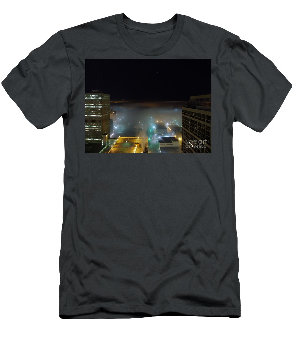 Photograph Men's T-Shirt (Athletic Fit) featuring the photograph downtown Calgary2 by Seon-Jeong Kim