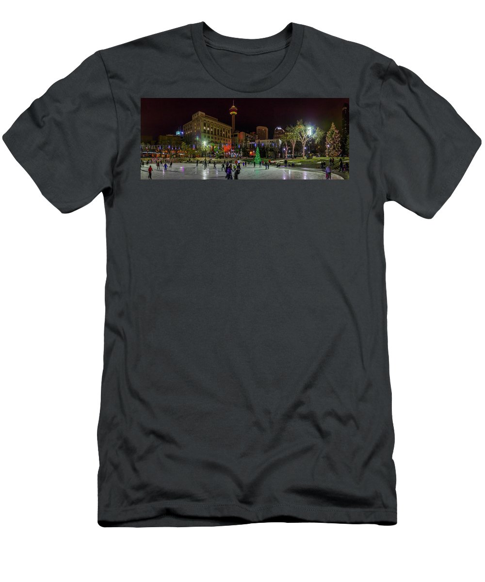 Christmas Men's T-Shirt (Athletic Fit) featuring the photograph Downtown Christmas by Cory Huchkowski