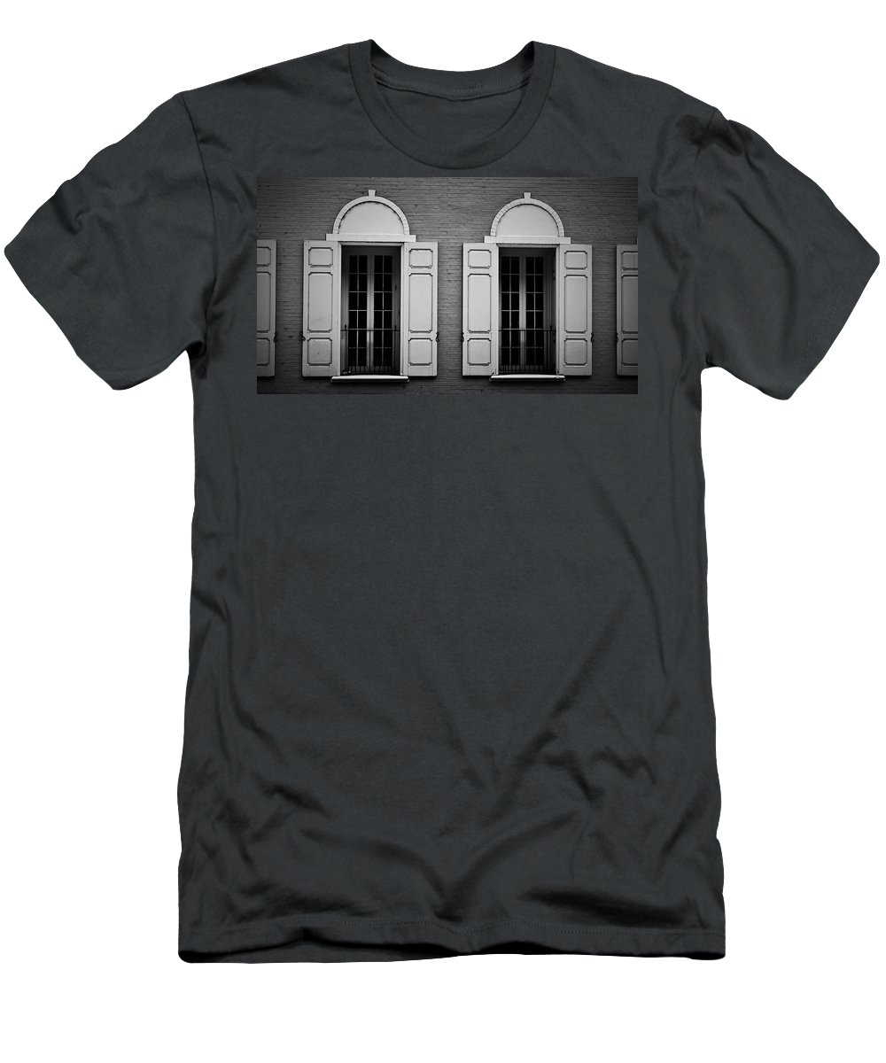 Windows Men's T-Shirt (Athletic Fit) featuring the photograph Downtown Windows Roanoke Virginia by Teresa Mucha