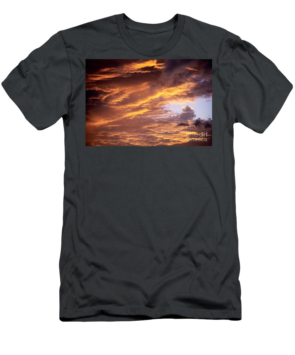 Afternoon Men's T-Shirt (Athletic Fit) featuring the photograph Dramatic Orange Sunset by Carl Shaneff - Printscapes
