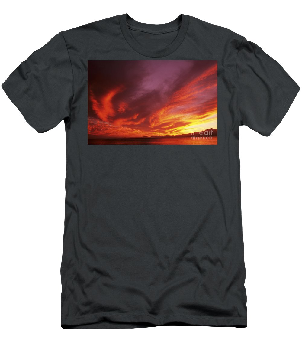 Air Art Men's T-Shirt (Athletic Fit) featuring the photograph Dramatic Sunset by Larry Dale Gordon - Printscapes